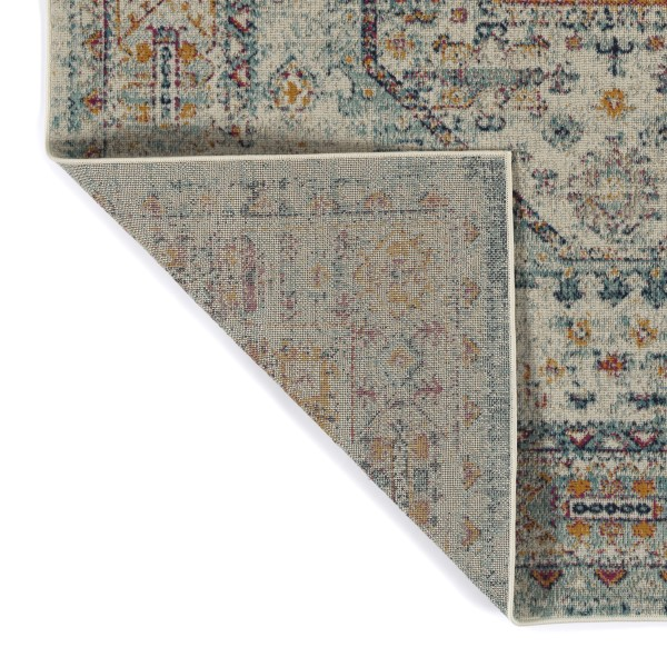 Grey, Turquoise, Navy (86) Traditional / Oriental Area Rug