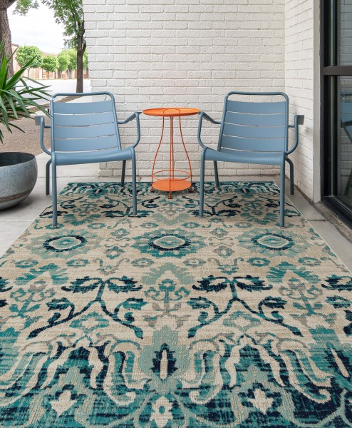 Blue, Turquoise, Grey (17) Traditional / Oriental Area Rug