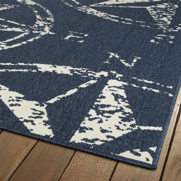 Navy, Ivory Outdoor / Indoor Area Rug