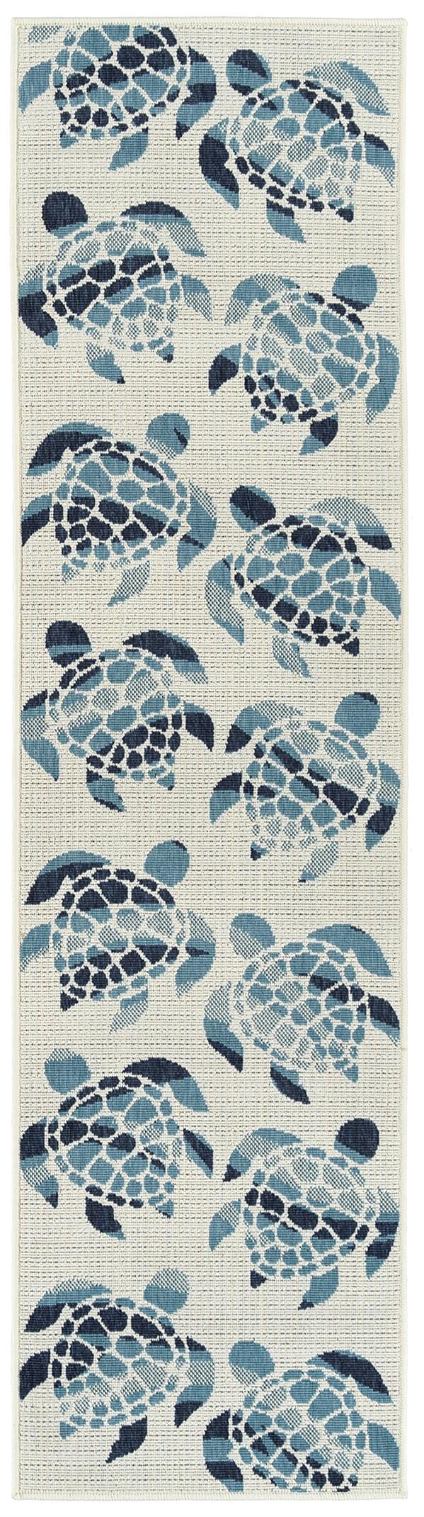 Ivory, Light Blue, Navy Outdoor / Indoor Area Rug