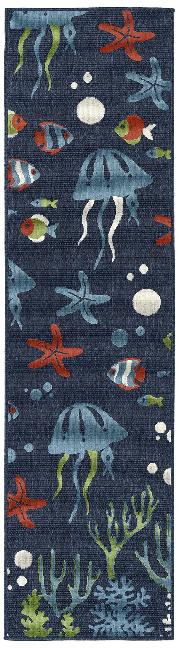 Navy, Light Blue, Orange (22) Outdoor / Indoor Area Rug