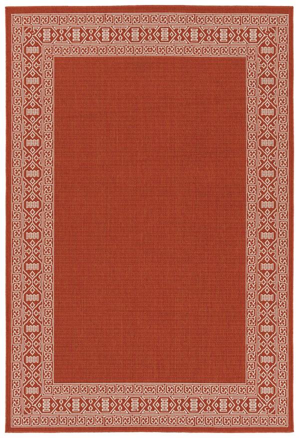 Orange, Ivory Outdoor / Indoor Area Rug