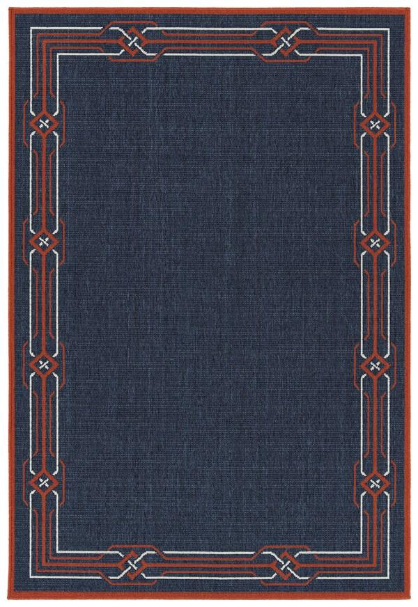 Navy, Orange, Ivory (22) Outdoor / Indoor Area Rug