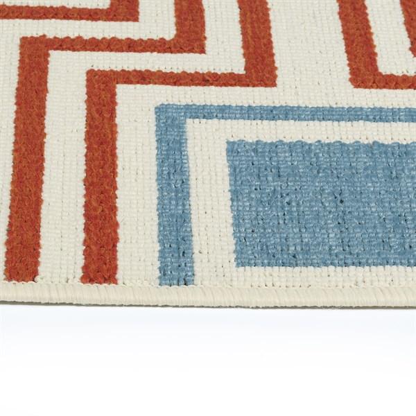 Orange, Light Blue, Ivory (32) Outdoor / Indoor Area Rug