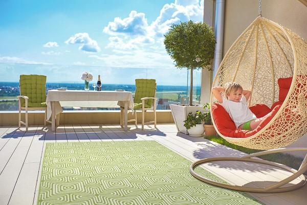 Lime Green, Ivory (96) Outdoor / Indoor Area Rug