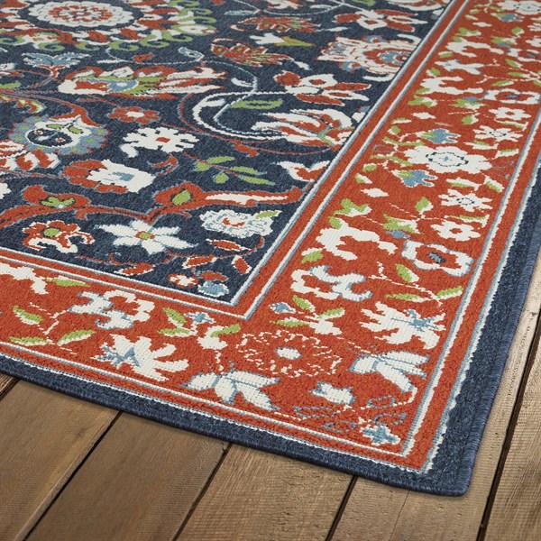 Orange, Navy, Ivory Outdoor / Indoor Area Rug