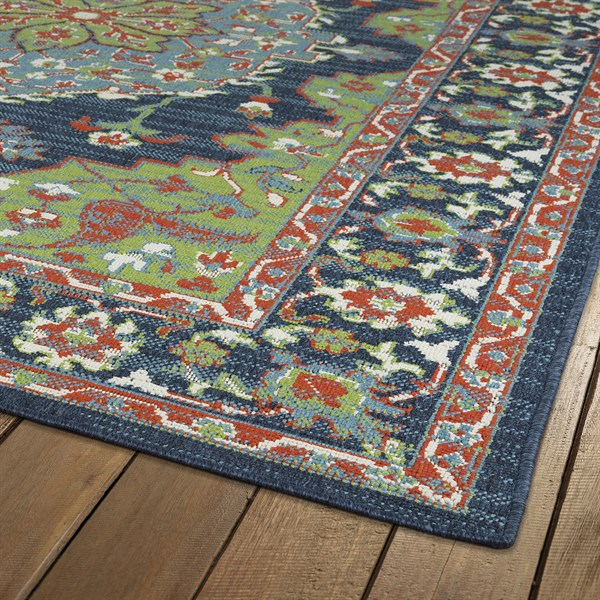 Lime Green, Navy, Orange Outdoor / Indoor Area Rug