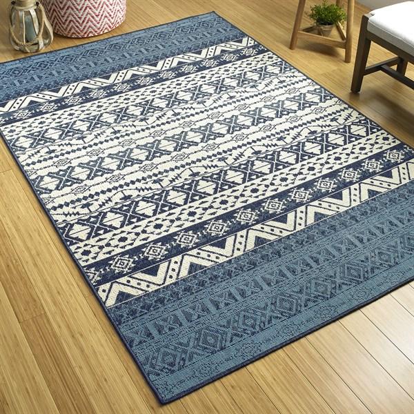 Navy, Ivory, Light Blue Outdoor / Indoor Area Rug