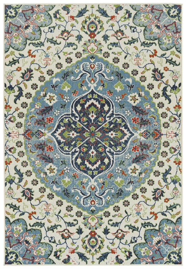 Ivory, Light Blue, Lime Green (01) Outdoor / Indoor Area Rug