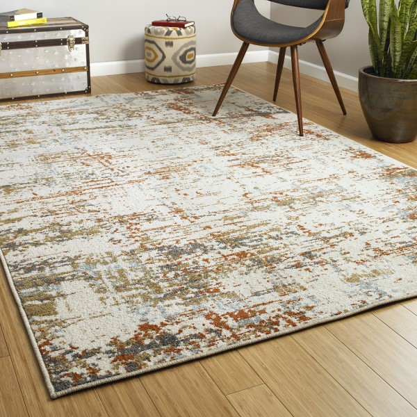 Ivory, Rust (01) Transitional Area Rug