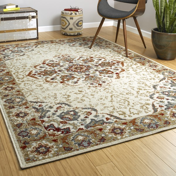 Ivory, Gold, Rust (01) Traditional / Oriental Area Rug