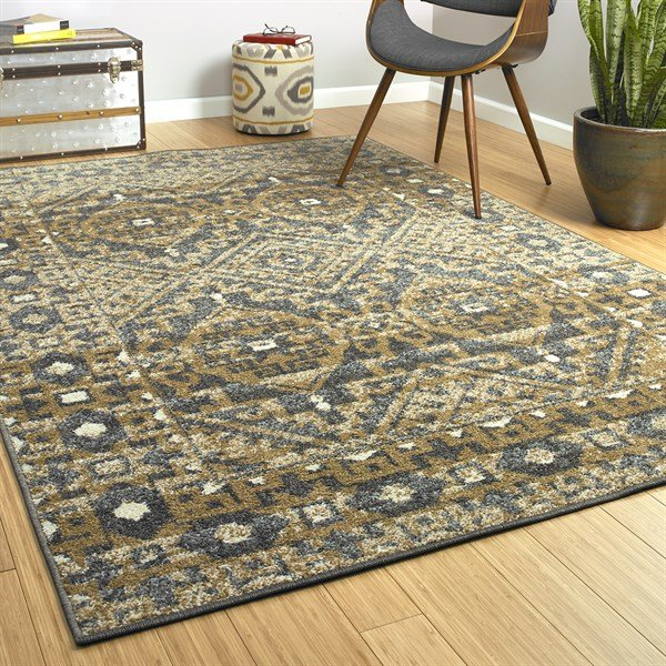Gold, Charcoal (05) Southwestern / Lodge Area Rug