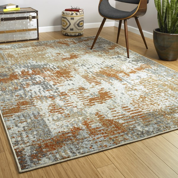 Spa, Rust, Ivory (86) Transitional Area Rug