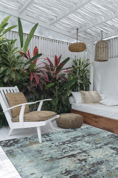 Aqua, Charcoal, Gold (79) Outdoor / Indoor Area Rug