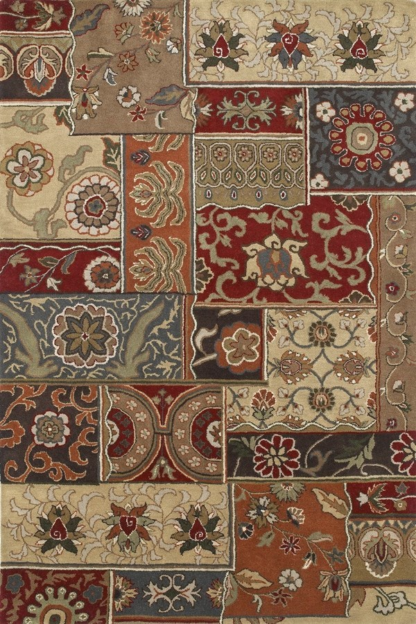 Charcoal, Burgundy, Mocha (38) Contemporary / Modern Area Rug