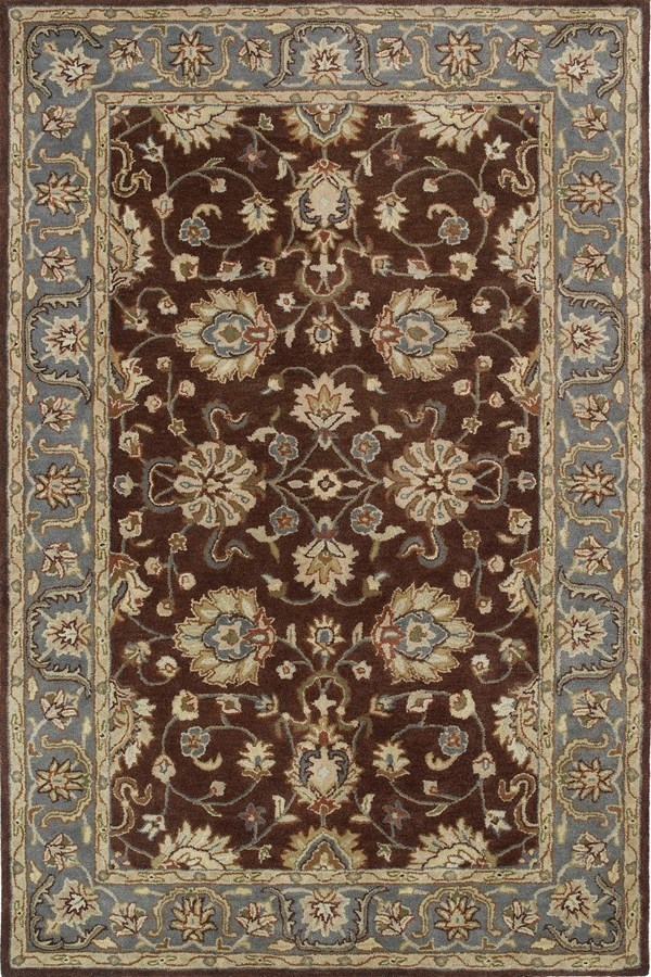 Brown, Sky Blue, Gold (49) Traditional / Oriental Area Rug