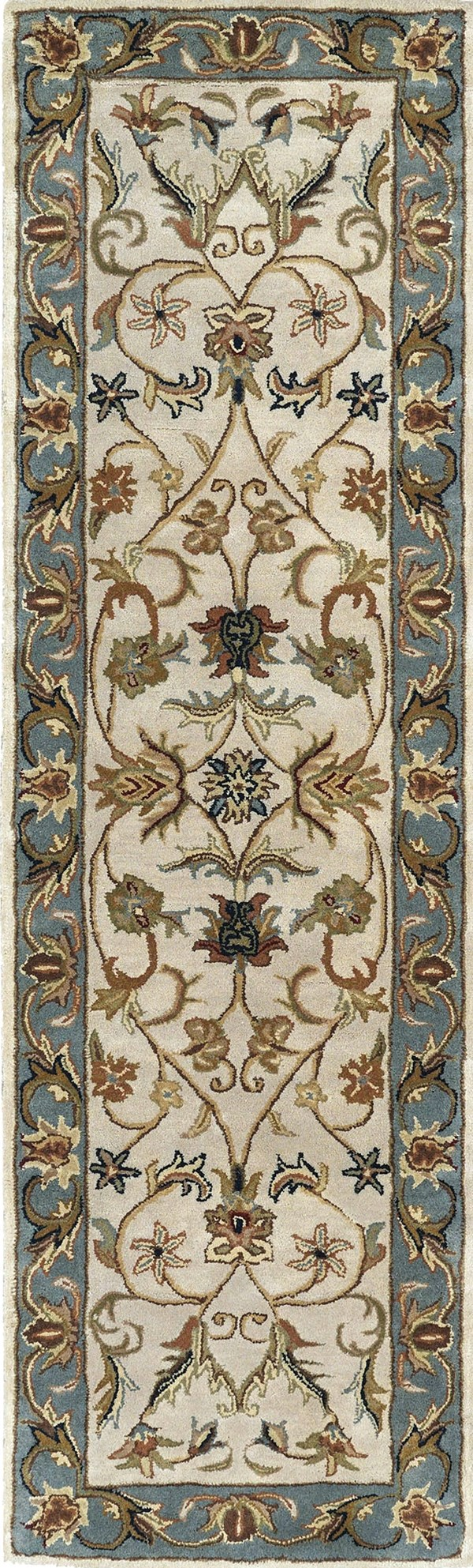 Ivory, Beige, Teal (01) Traditional / Oriental Area Rug