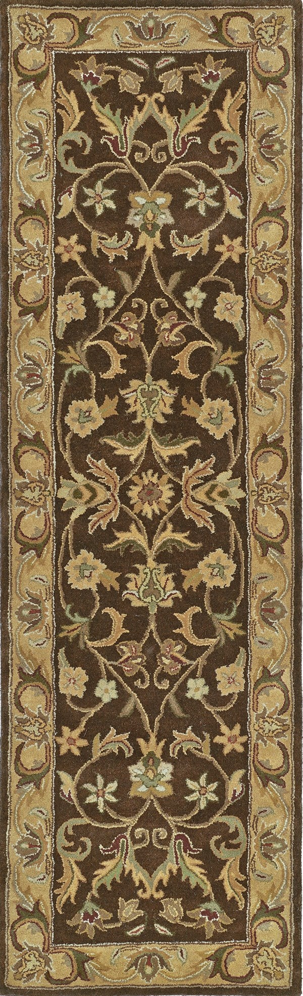 Chocolate, Gold, Olive Green (40) Traditional / Oriental Area Rug