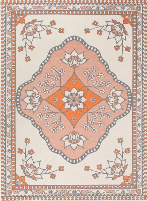 Pink, Orange, Cream Bohemian Area Rug