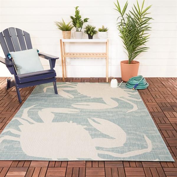 Green, Blue, Cream Outdoor / Indoor Area Rug
