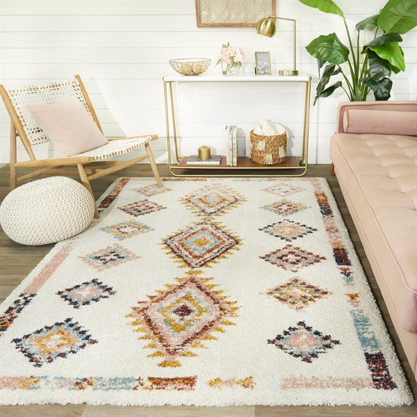 Cream, Pink, Orange Southwestern / Lodge Area Rug