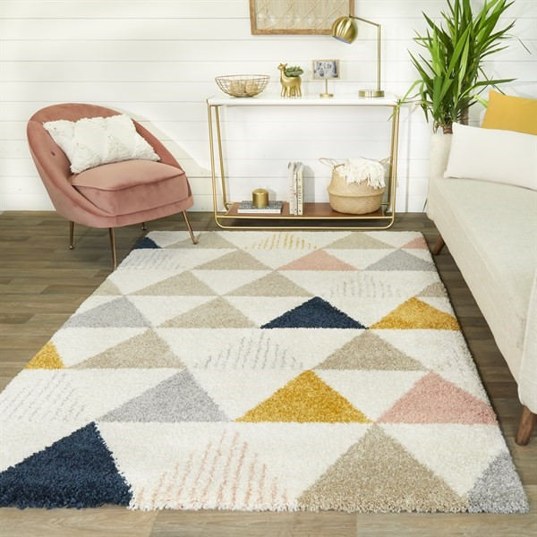 Cream, Tan, Orange Southwestern / Lodge Area Rug