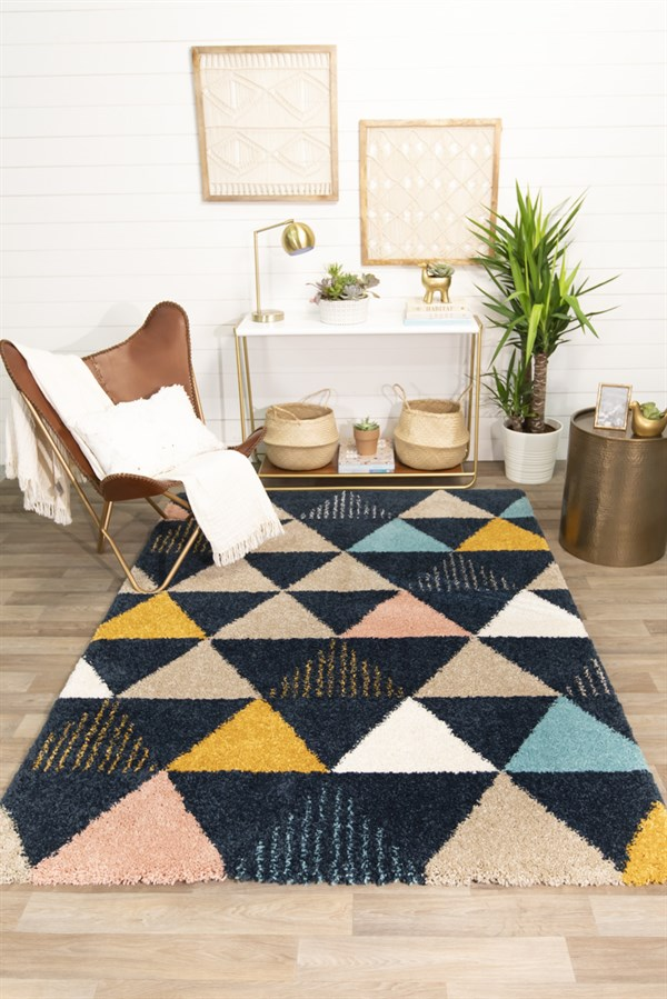 Blue, Cream, White Southwestern / Lodge Area Rug