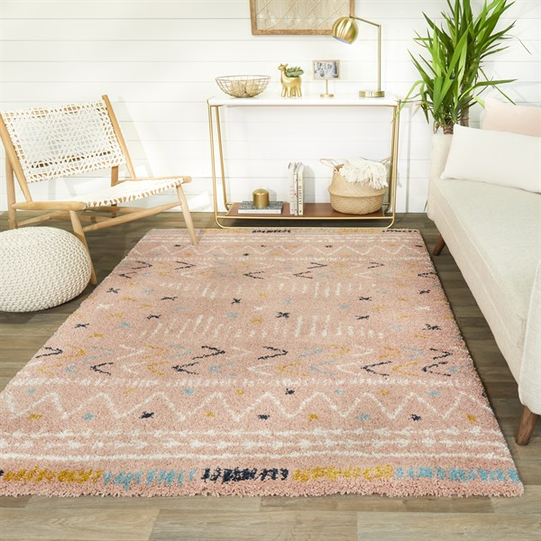 Pink, White, Gold Moroccan Area Rug