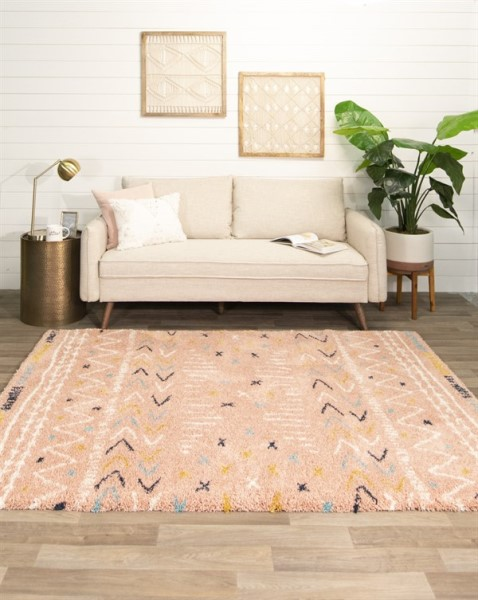 Pink, White, Gold Bohemian Area Rug
