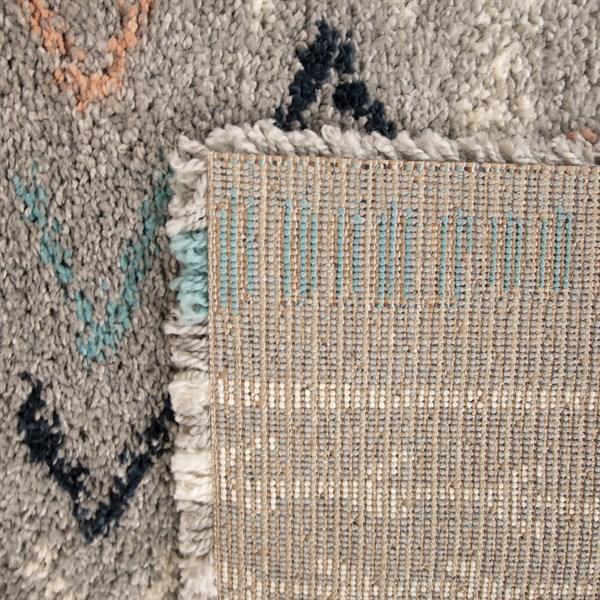 Grey, Blue, Orange Moroccan Area Rug