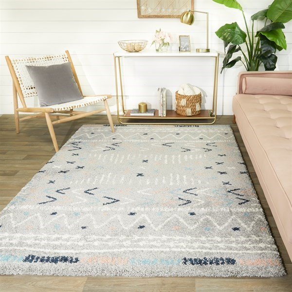 Grey, Blue, Orange Bohemian Area Rug