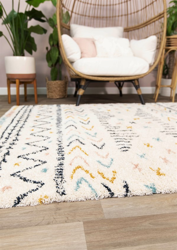 Cream, Gold, Blue Moroccan Area Rug