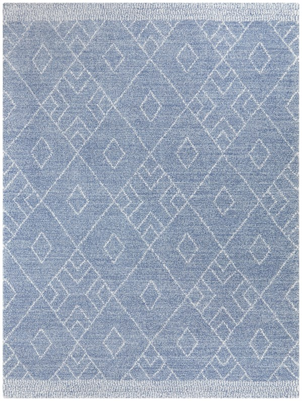 Blue, Green, Cream Moroccan Area Rug