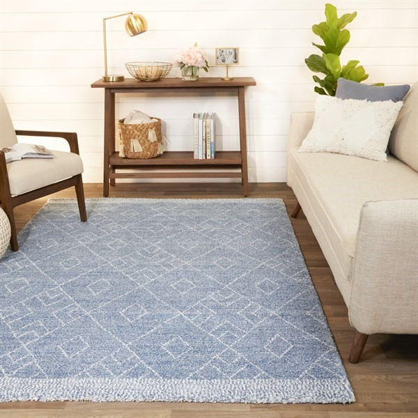 Blue, Green, Cream Bohemian Area Rug