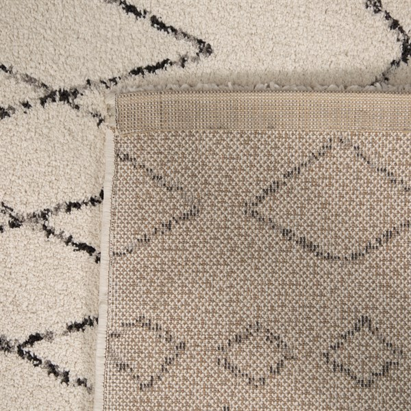 Cream, Black, Ivory Moroccan Area Rug