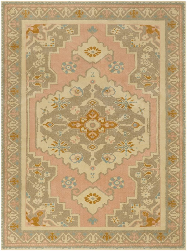 Pink, Brown, Off-White Bohemian Area Rug