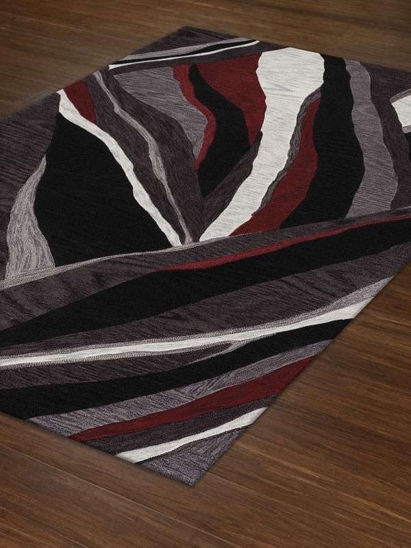 Black, Grey Contemporary / Modern Area Rug
