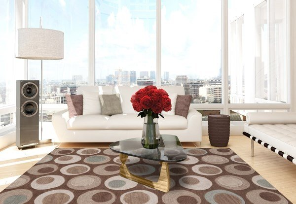 Taupe, Chocolate Contemporary / Modern Area Rug