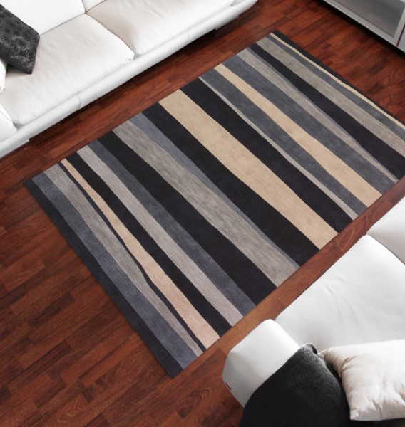 Coastal Blue, Ivory Striped Area Rug