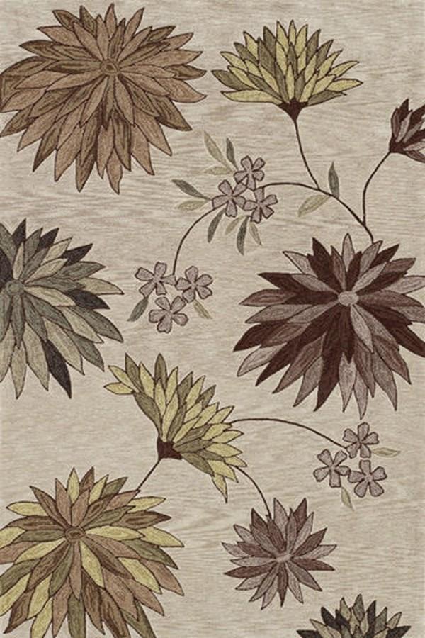 Ivory, Taupe Floral / Botanical Area Rug