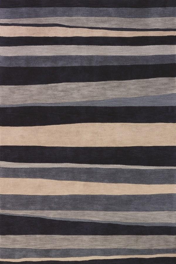 Coastal Blue, Ivory Striped Area Rug