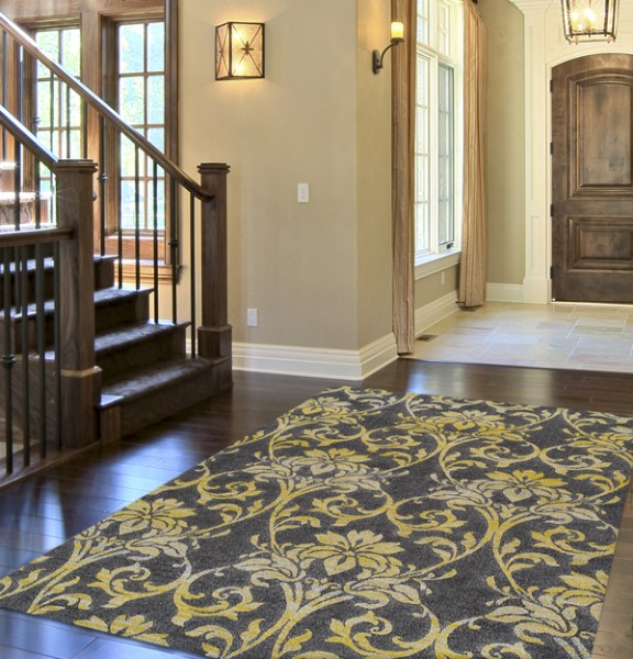 Pewter, Yellow Traditional / Oriental Area Rug