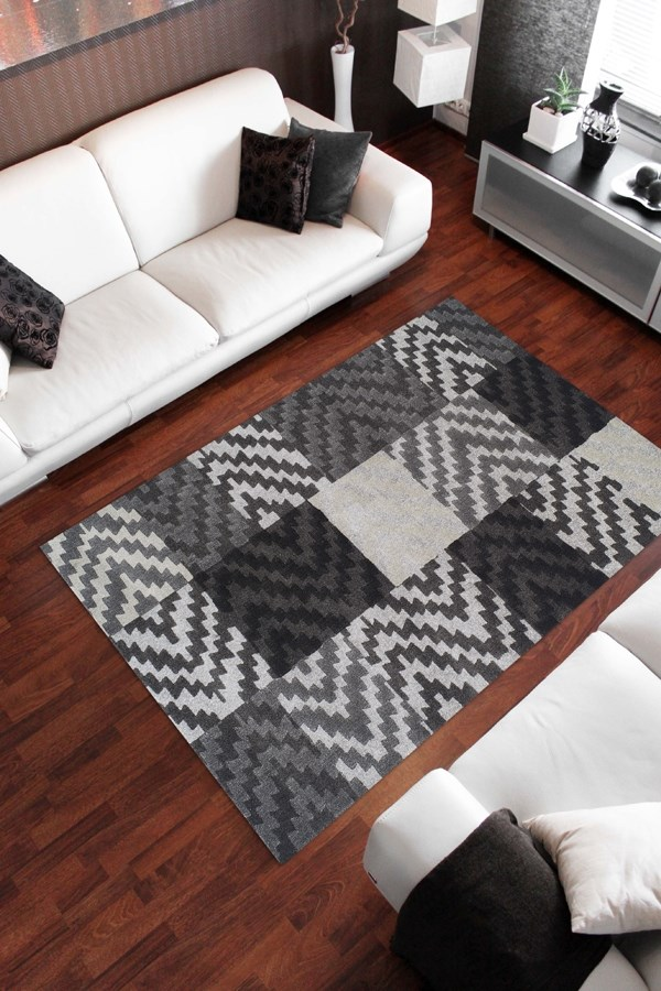Pewter, Silver Contemporary / Modern Area Rug