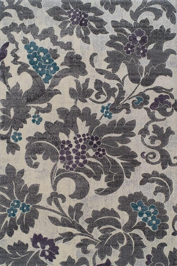 Silver, Linen Floral / Botanical Area Rug