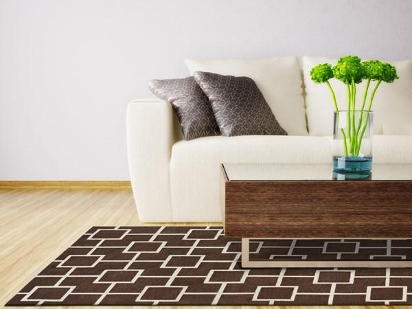 Mocha, White Contemporary / Modern Area Rug