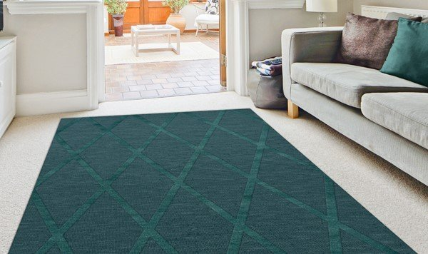 Teal (144) Geometric Area Rug