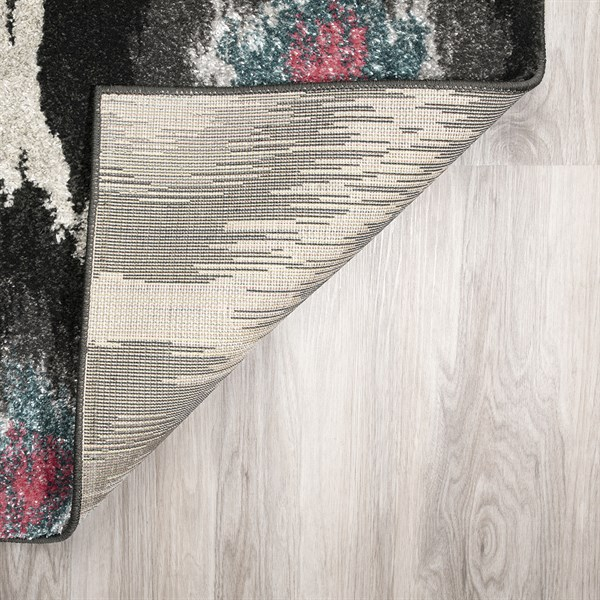 Charcoal, Silver, Grey, Pink Moroccan Area Rug