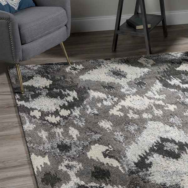Pewter, Charcoal, Taupe Ikat Area Rug
