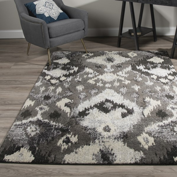 Pewter, Charcoal, Taupe Bohemian Area Rug