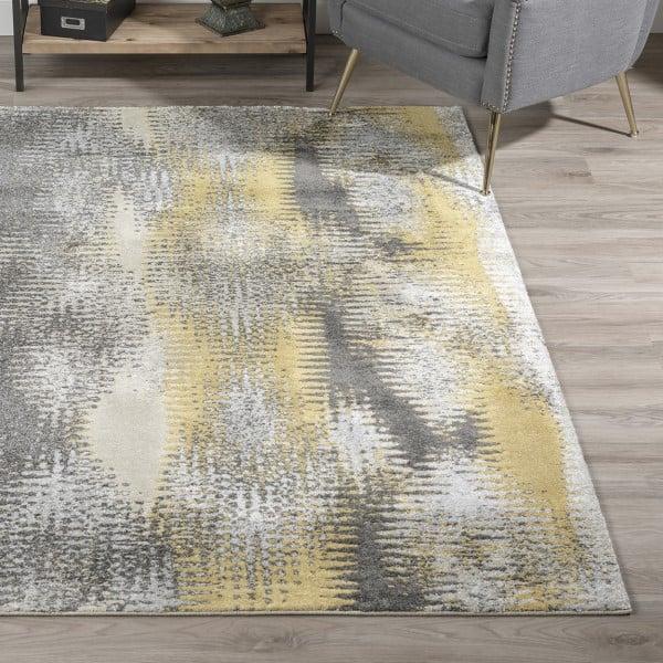 Graphite, Yellow, Grey Contemporary / Modern Area Rug